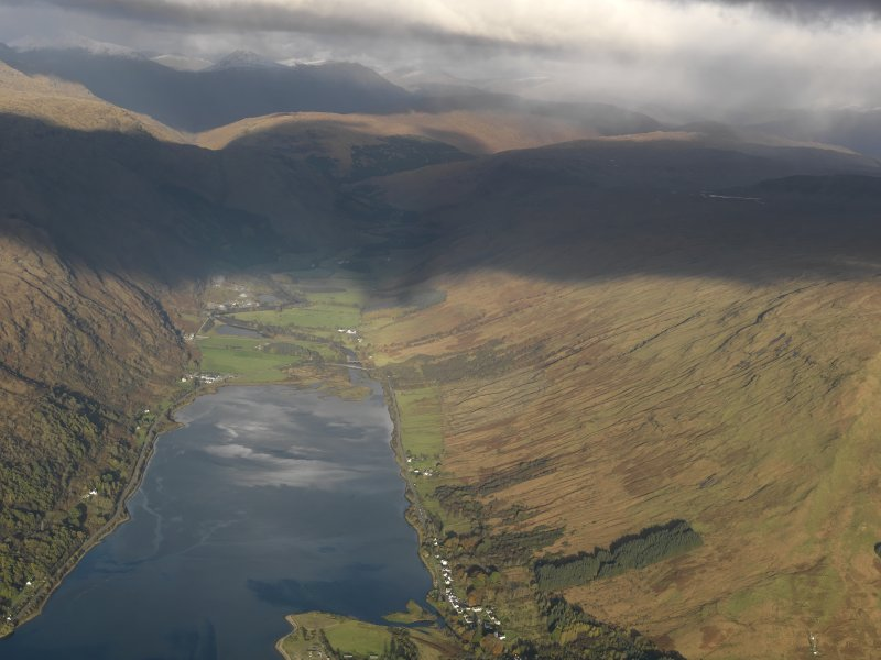 General oblique aerial view of the head of Loch Fyne, taken from the SW.