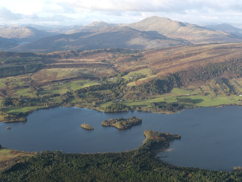 General oblique aerial view looking towards Ben Ledi over the Lake of Mentieth, taken from the S.