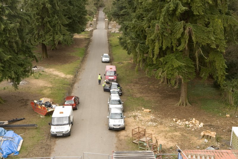 View of drive from scaffolding on entrance (W) front