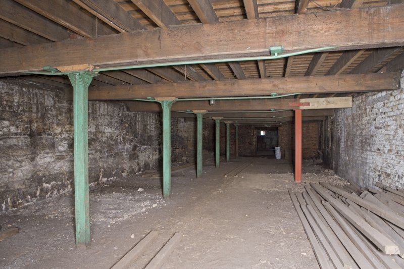 Interior view, ground floor of bonded warehouse (west section) at former Rosebank Distillery