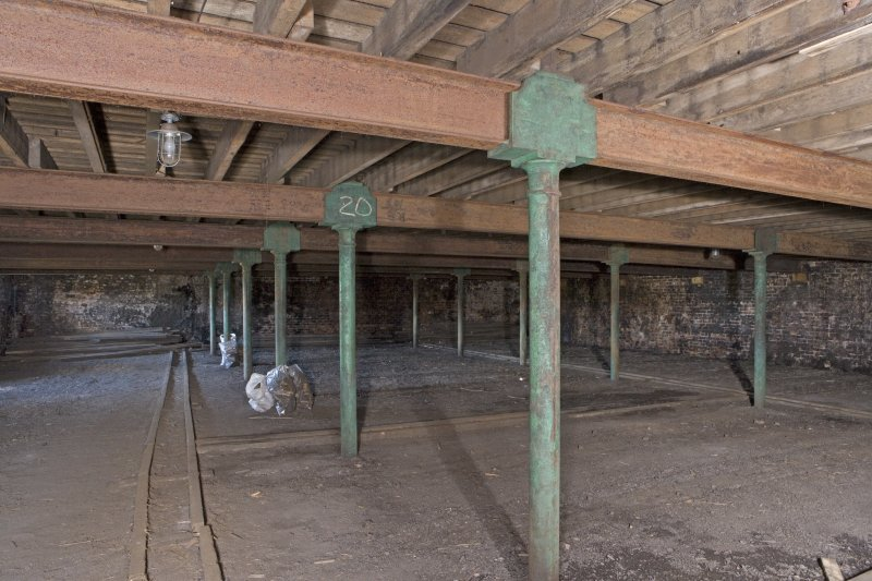 Interior view, ground floor of bonded warehouse (east section) (west section) at former Rosebank Distillery