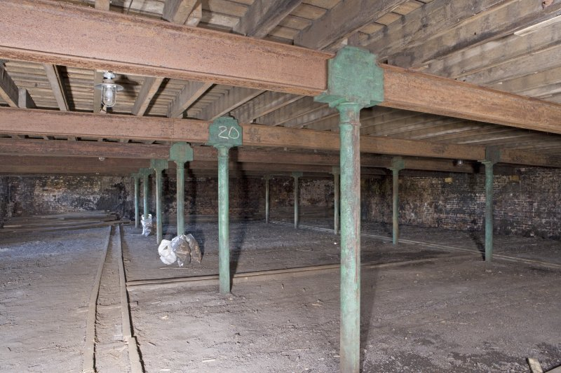 Interior view, ground floor of bonded warehouse (east section) at former Rosebank Distillery
