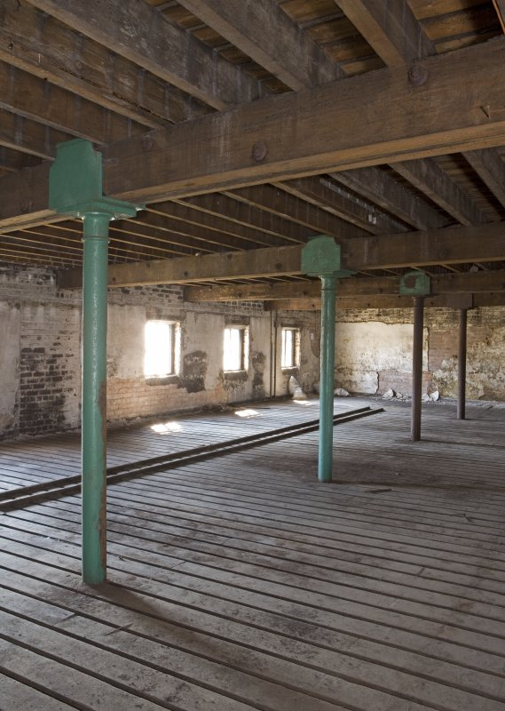 Interior view, first floor of bonded warehouse (west section) at former Rosebank Distillery