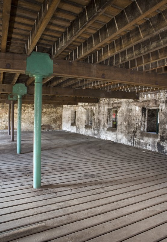 Interior view, first floor of bonded warehouse (west section) at former Rosebank Distillery.
