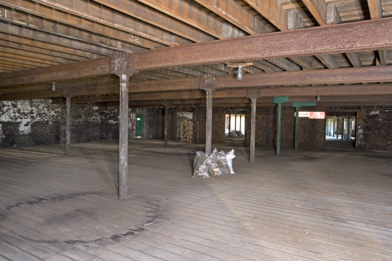 Interior view, view across first floor of bonded warehouse (east section) at former Rosebank Distillery
