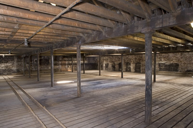 Interior view of second floor of bonded warehouse (east section) at the former Rosebank Distillery.
