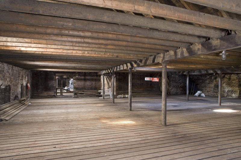 Interior view of second floor of bonded warehouse (east section) at former Rosebank Distillery.