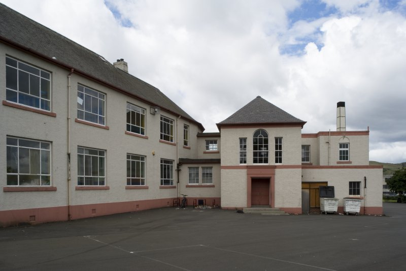 View of rear of school with rear entrance block from E.