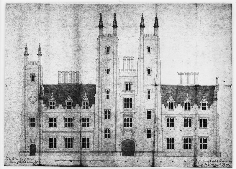 Mechanical copy of plan 'No. 2 The New College of Edinburgh. Elevation of the North External Front.'