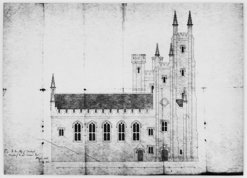 Mechanical copy of plan 'No. 4 The New College of Edinburgh. Elevation of the East External Front.'