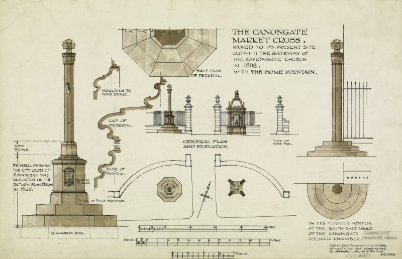 Canongate, Mercat Cross Elevation and plans, including Home Fountain Titled: 'The Canongate Market Cross' Signed: 'AR 1948'