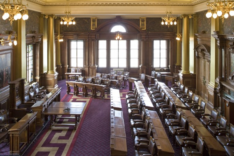 Interior. Main Council Chamber from gallery.
