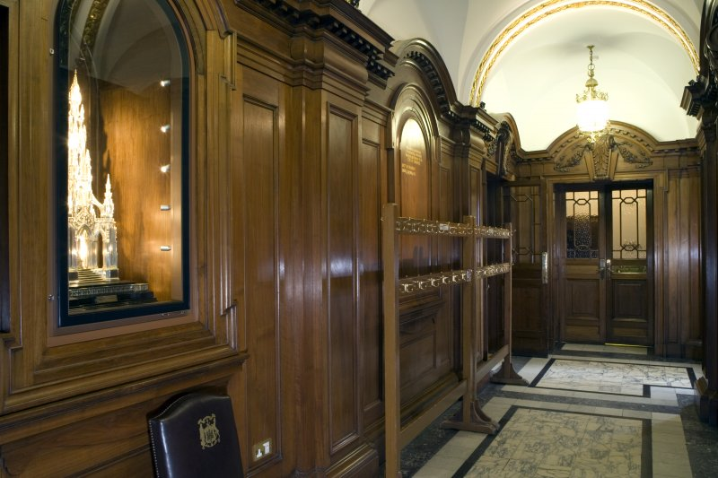 Interior. View of passage outside Main Council Chamber.