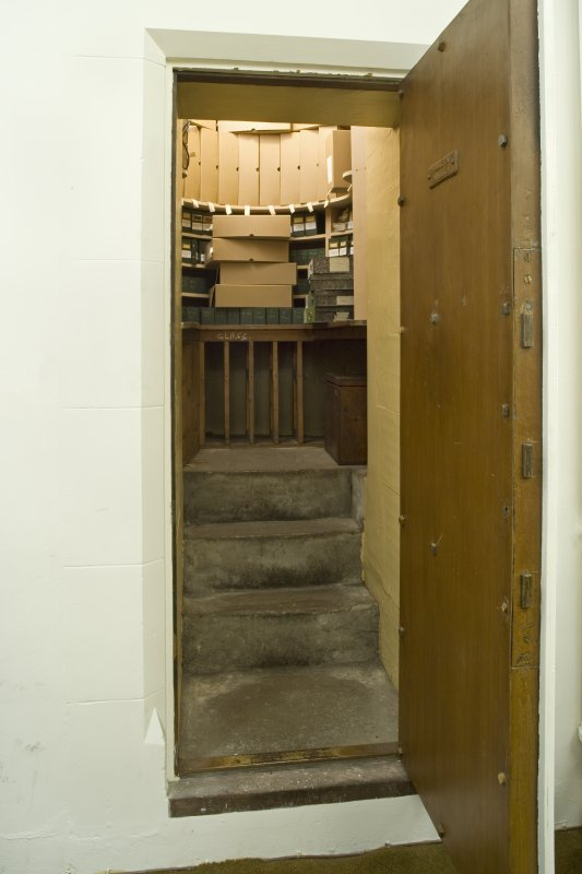 Interior. 1st floor. Reference Archive office. Corner safe door and safe interior. |