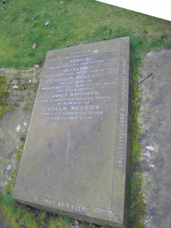 View of ledger stone in memory of Andrew Menzies.
