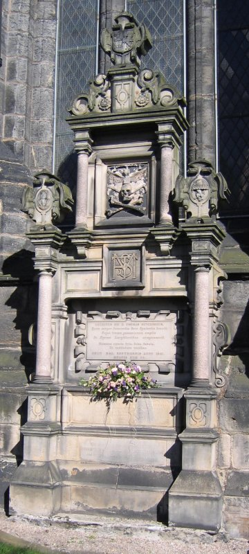 View of monument in memory of the Hutcheson Family.