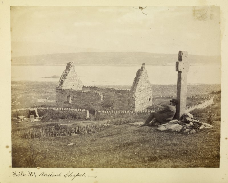 View of Keills chapel and cross, Argyll. Titled: 'Keills N: 1 Ancient Chapel'.
