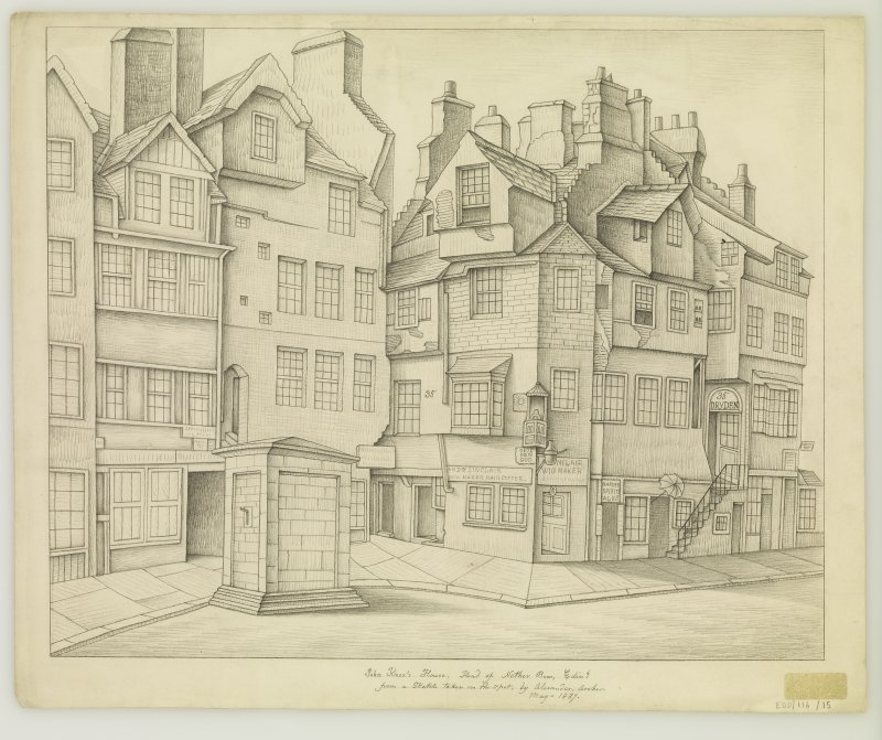 View of John Knox's House and Moubray House, Edinburgh.