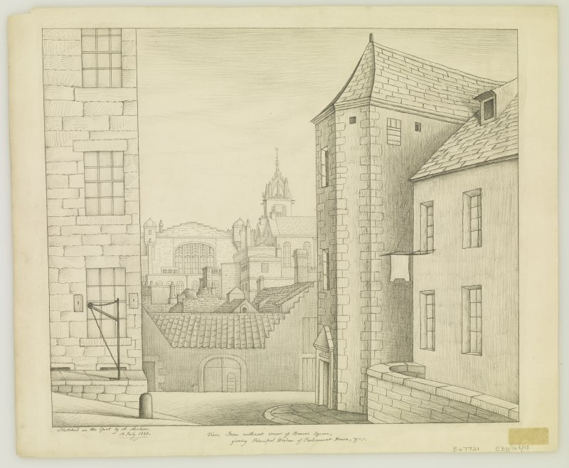 "View from North East corner of Browns Square, giving principal window of Parliament House, etc Signed and Dated  ""Sketched on the spot by A. Archer  13 July 1838"""
