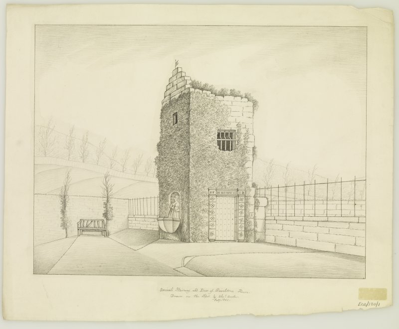 Sketched view of from South West of stair tower of old Ravelston House, insc: 'Ancient Stairway and Door of Ravelstone House. Drawn on the Spot by Alexr Archer. Feb 9. 1840.'