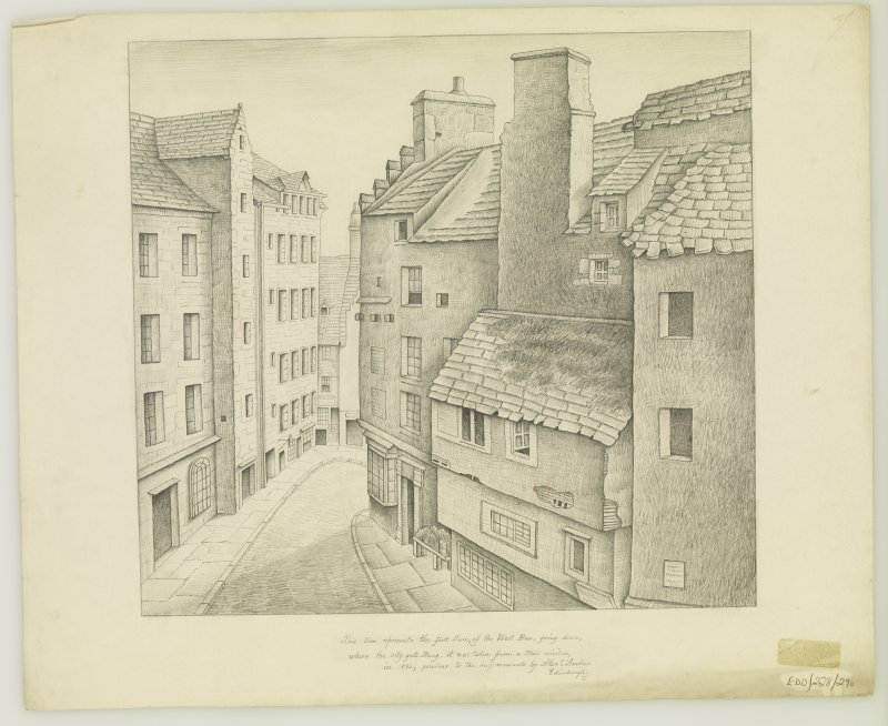 View looking down Upper West Bow, insc; 'This View represents the first Turn, of the West Bow, going down, where the city gate Hung, it was taken from a Stair window, in 1834, previous to the improvements'