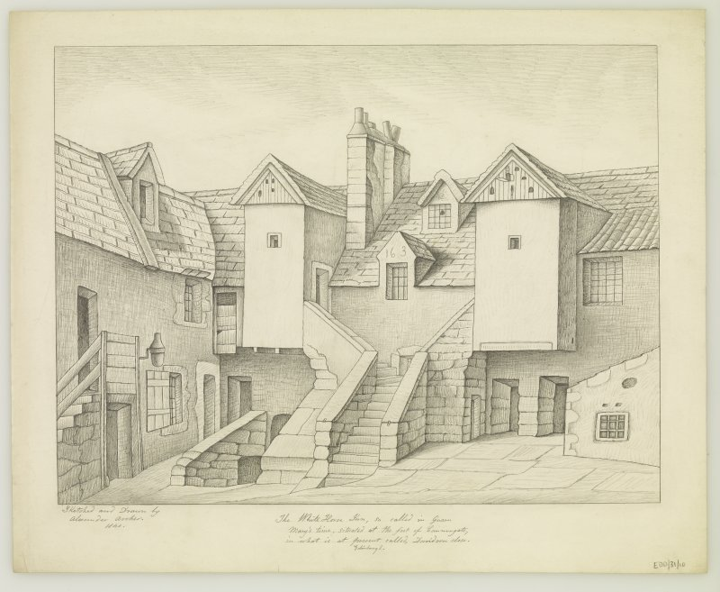 View of White Horse Inn. Copy of drawing inscribed 'Sketched and Drawn by Alexander Archer 1840.  The White Horse Inn, so called in Queen Mary's time, situated at the foot of Cannongate, in what is at present called, Davidson Close.  Edinburgh.'