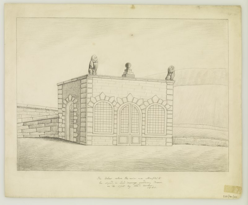 Copy of drawing of Summer House, Moray House, insc: 'The Arbour where the Union was atempted to be signed in Lord Murrays gardens; Drawn on the spot by Alex'r Archer 1840'.