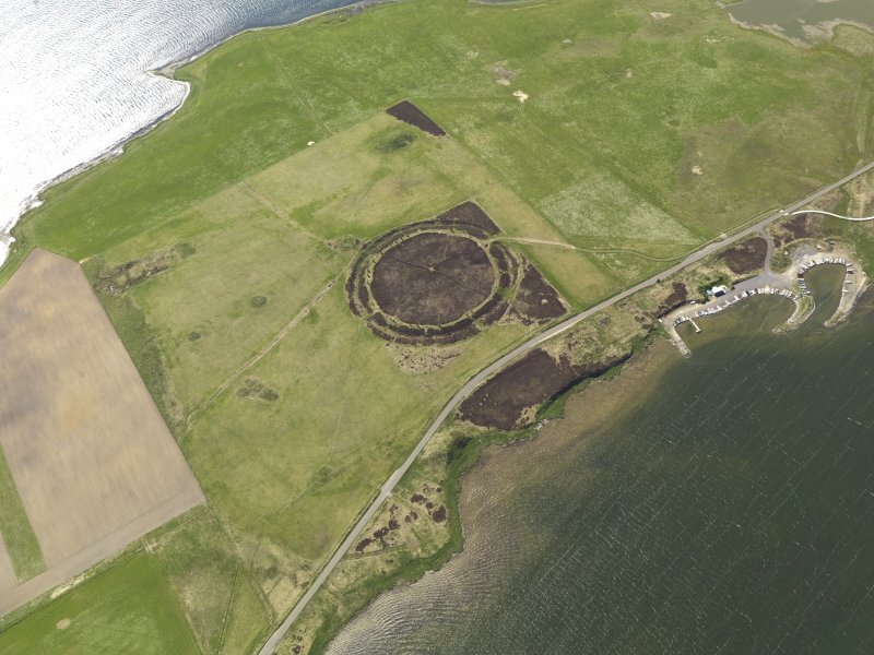 Oblique aerial view centred on the Ring of Brodgar, taken from the ENE.