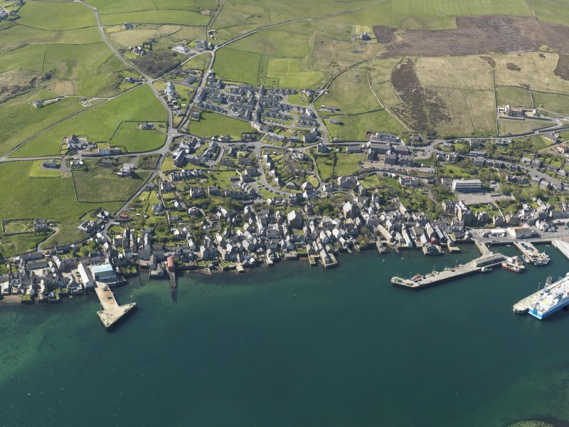 Oblique aerial view of Stromness Harbour, taken from the ESE.