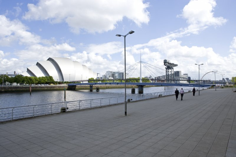 General view from quayside to W including concert hall and Finnieston crane