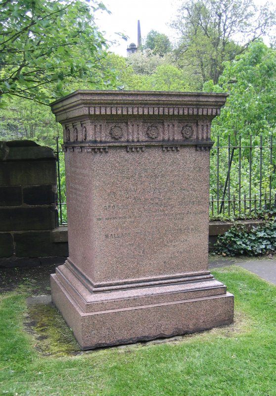 View of square monument in memory of the Macintosh family.