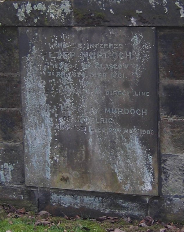 View of wall tablet in memory of Peter Murdoch.