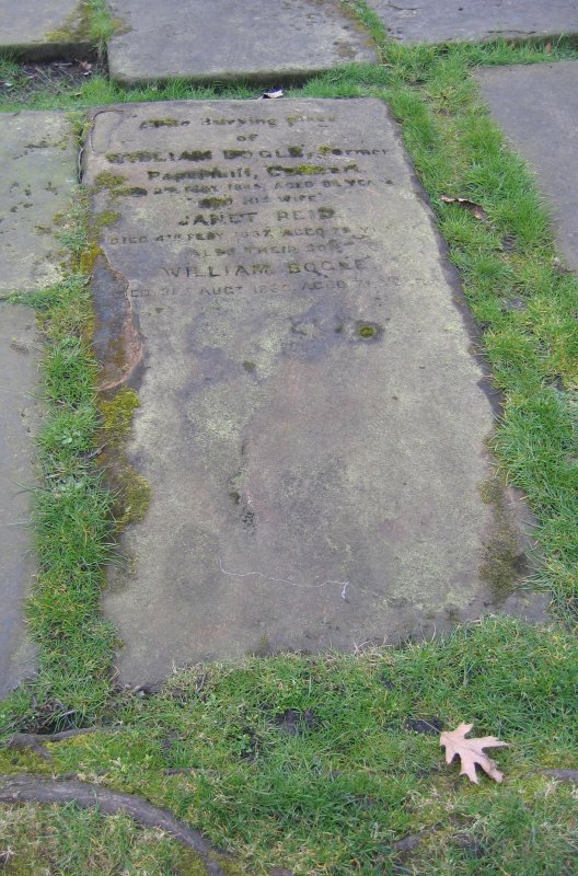 View of ledger stone in memory of William Bogle.