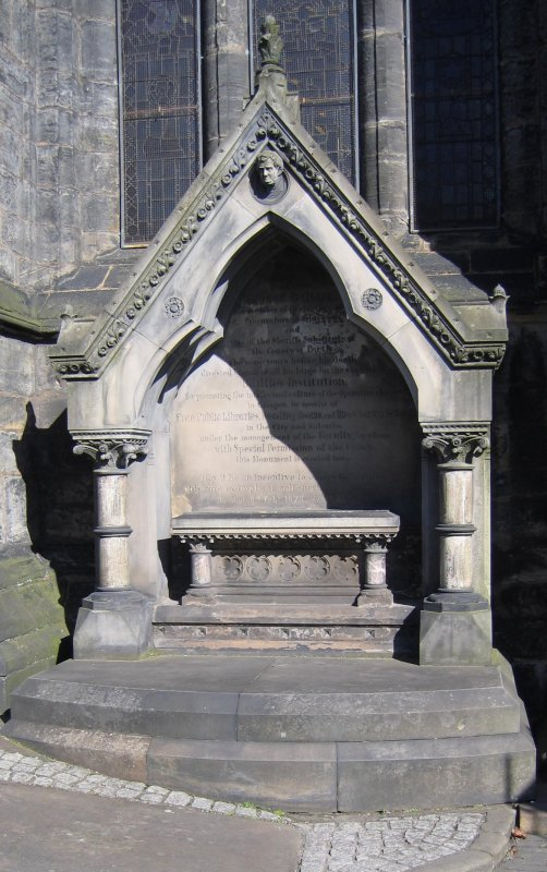 View of wall monument in memory of George Baillie.