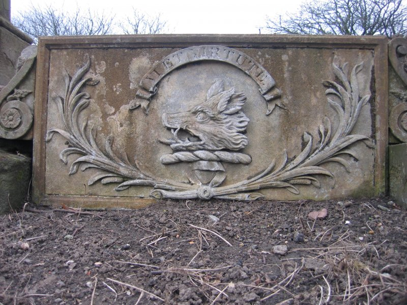 View of relief sculpture on ledger stone.