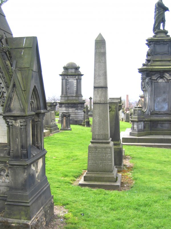 View of cemetery including obelisk in memory of Eliza Jane Aikman.