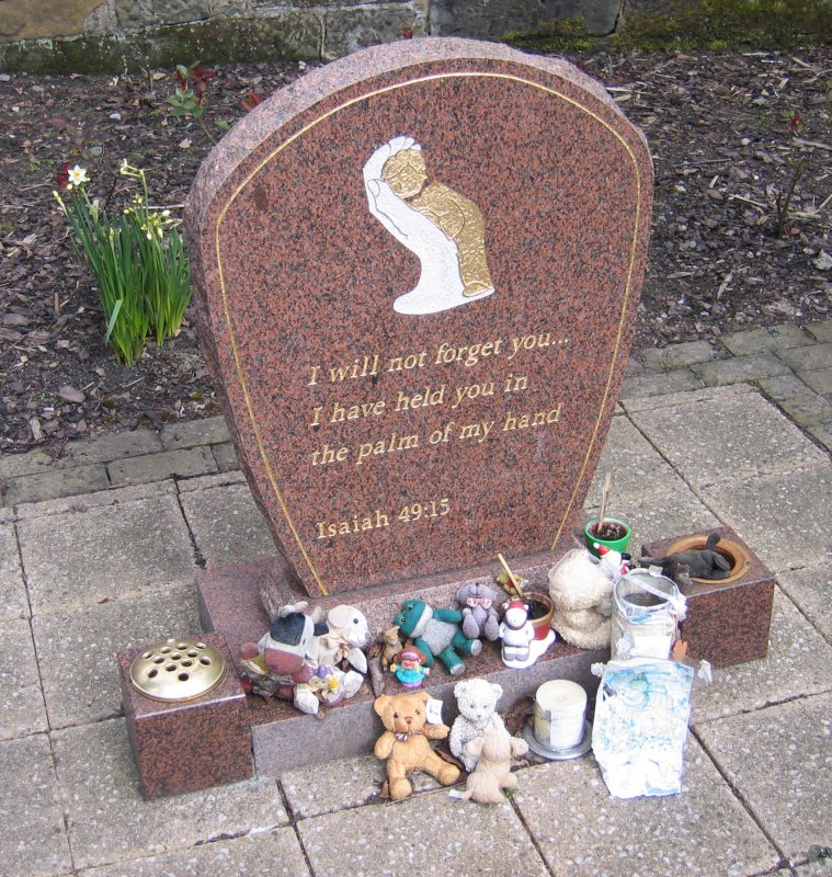 View of headstone in memory of babies who have died in infancy.