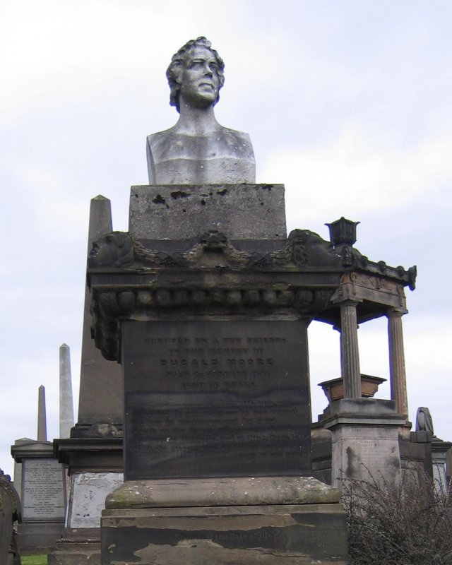 View of monument in memory of Dugald Moore.