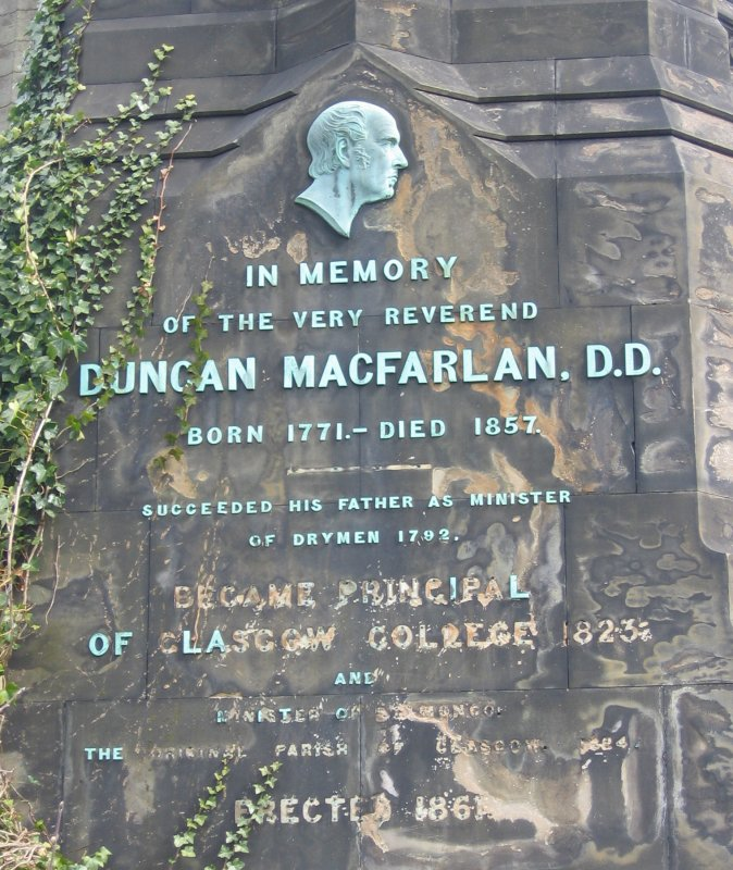 View of monument in memory of Duncan Macfarlan.