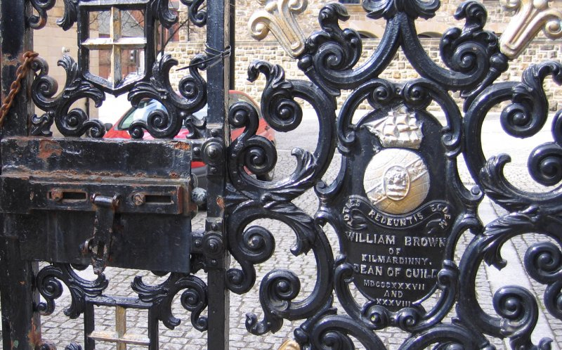 Detail from entrance gates to Necropolis, including dedication to William Brown.