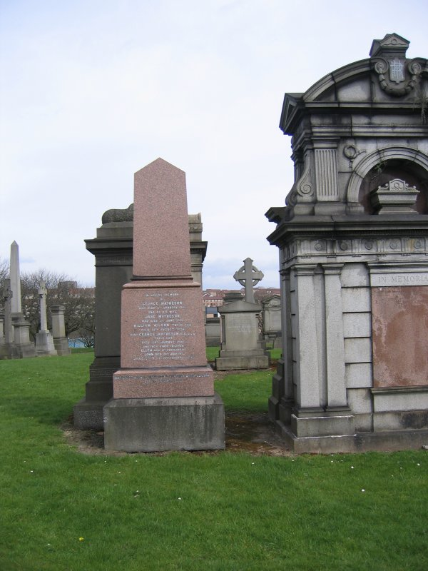 General view of cemetery including obelisk in memory of George Matheson.