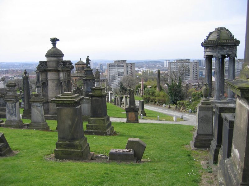 General view of necropolis and city.