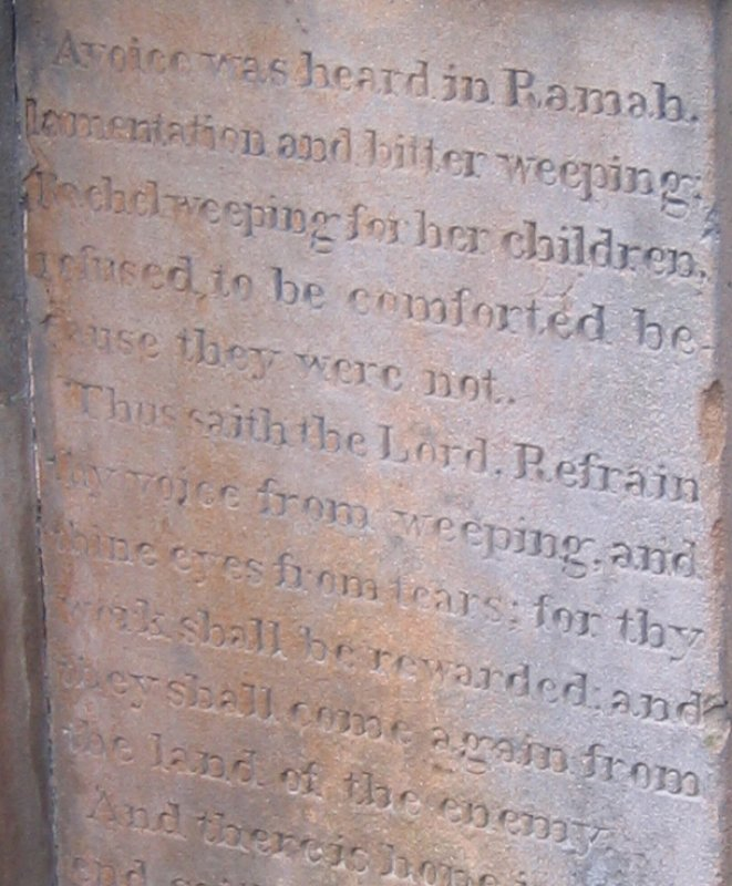 Detail from stone inscription in Jewish section of Necropolis.