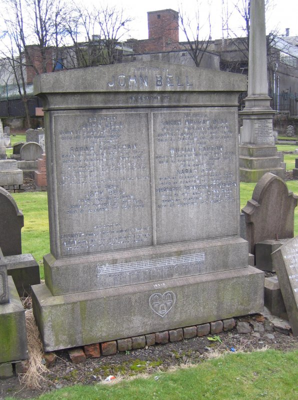 View of headstone in memory of John Bell.
