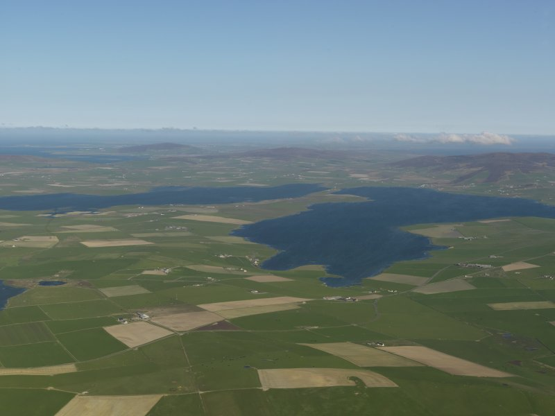 General oblique aerial view of the Loch of Stenness and the Loch of Harray, taken from the NW.