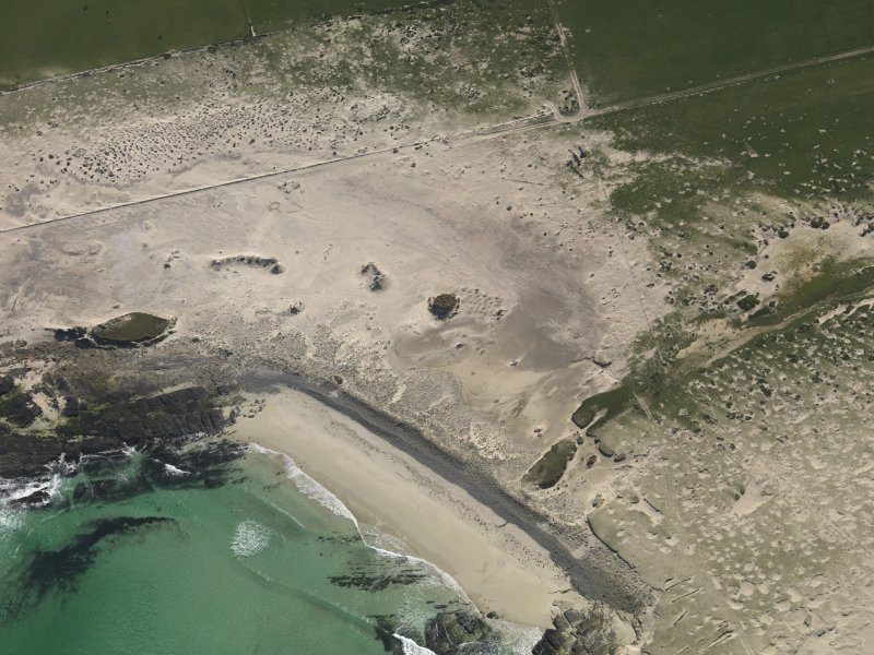 Oblique aerial view of the coastal erosion at Links of Noltland.