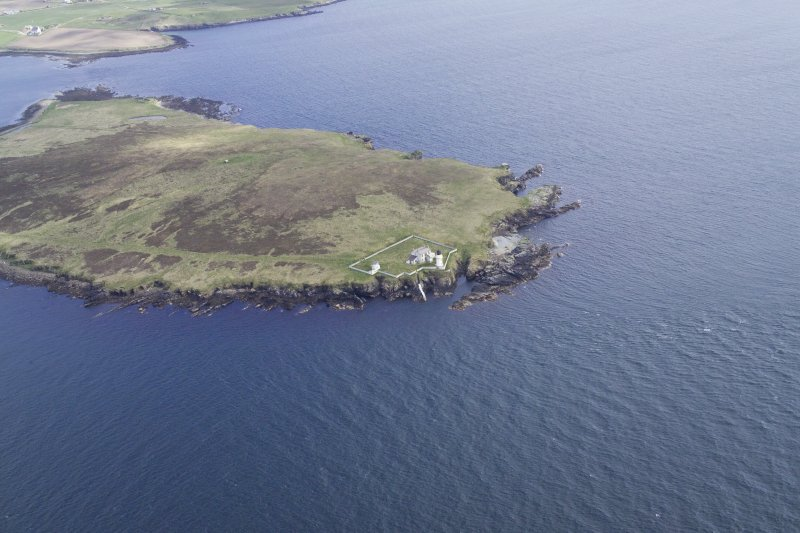 Oblique aerial view centred on Helliar Holm lighthouse, taken from the WSW.