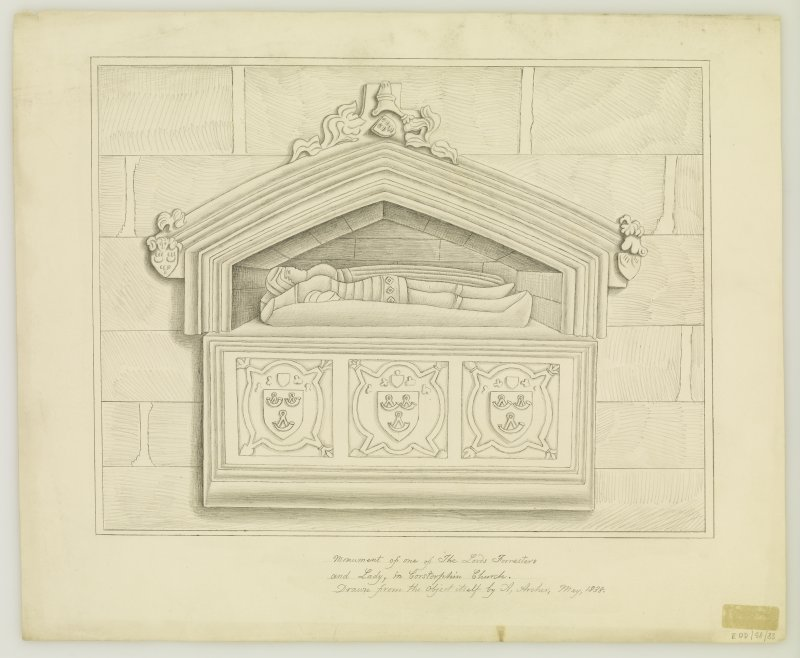 Edinburgh, Kirk Loan, Corstorphine Parish Church, interior. View of Forrester tomb.