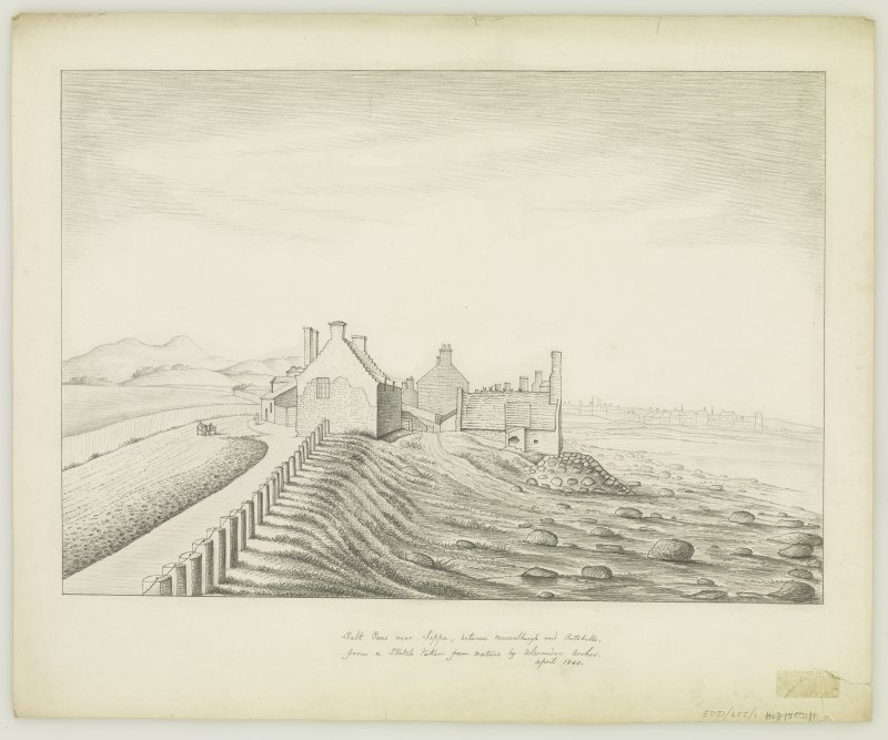 Edinburgh, Portobello, Joppa Salt Pans. Sketch of Salt Pans. Titled: 'Salt Pans near Joppa, between Musselburgh and Portobello from Sketch taken from Nature by Alexander Archer. April 1840'.