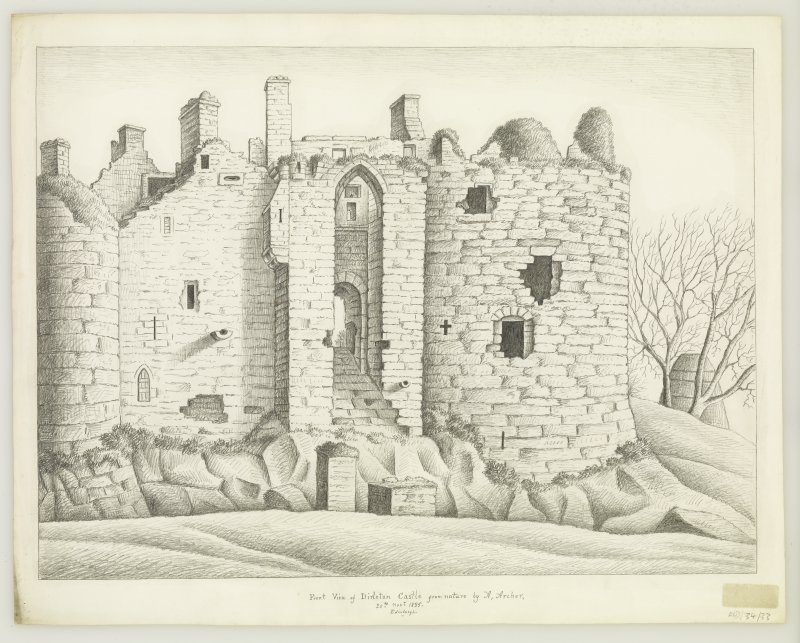 Drawing of gatehouse, Dirleton Castle, by Alexander Archer, 1835.